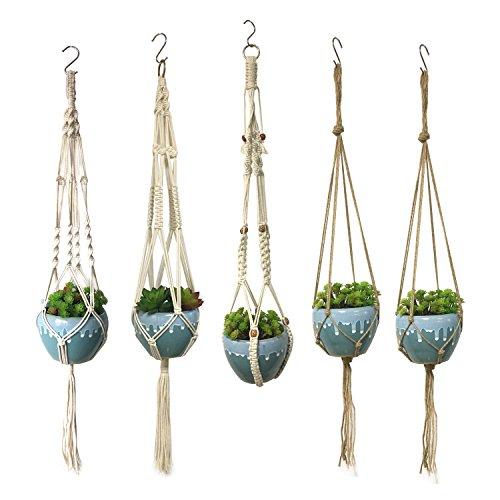Wartoon 5 pcs appendiabiti per piante macrame indoor outdoor hanging cestello per fioriere 4 gambe 100cm