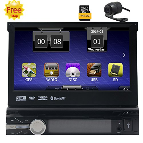 Freie Geschenk-hintere Kamera-8GB Karte Radio Stereo-1 din 7Inch des Auto-DVD-Spieler GPS-Navigation in Dash Autoradio bluetooth 800MHZ CPU 256M RAM 128 MB ROM-Steuerger?t Abnehmbare Frontseiten-Ges -