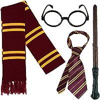 Fancy Dress Disfraz de Mago Escolar: Varita mágica, Corbata y Gafas Redondas - para niños y Adultos