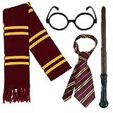 FancyDressFactory Magier Zaubererkostüm: Zauberstab, Schal, Schulkrawatte und runde Brille - für Kinder und Erwachsene