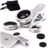 Ley® Universal 3en 1kit de lente de cámara para teléfono móvil 180grados lente ojo de pez + 2en 1Micro lente + Super Gran Angular Lente para iPhone 6S/6S Plus, iPhone 6/6Plus, iPhone 5, 5S, 5C, 4S, 4, iPad mini, iPad 432Samsung Galaxy S4, S3, S2, Note 4321Sony y HTC Blackberry Teléfonos Inteligentes Negro