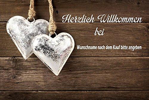 crealuxe Fussmatte Herzlich Willkommen mit Wunschname (nach dem Kauf angeben) - Fussmatte bedruckt Türmatte Innenmatte Schmutzmatte lustige Motivfussmatte