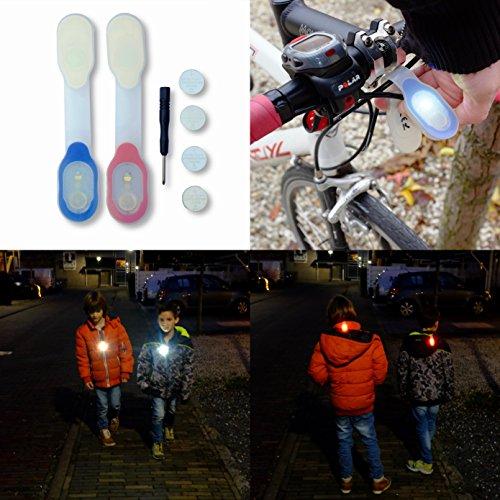 Luce di Sicurezza Tiiwee LED Luminosi per la vita all'Aria Aperta a Piedi, in Bicicletta e Trekking - Clip Magnetica - Batterie di Ricambio incluse - LED Bianco e Rosso - Set di 2