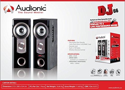 Audionic DJ 66 Speaker System with Karaoke Jack and Wireless Mic USB/MMC/SD Card Port Built in FM Radio