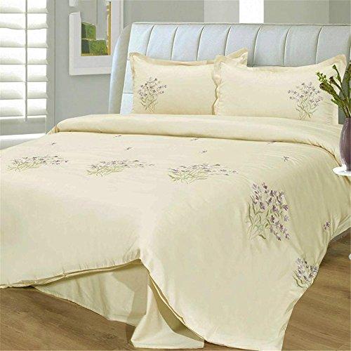 Bettwäsche vier Stück Quilt Deckblatt Kissenbezug 1,8 m (6 Zoll) Bett Baumwolle Stickerei Stickerei Lavendel, b (Lavendel-bett-satz)