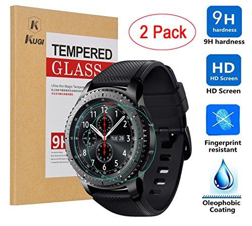 kugi samsung gear s3 classic proteggi schermo - di alta qualità 9h durezza hd protezione libera vetro temperato dello schermo per smartphone samsung gear s3 classic.(2pack)