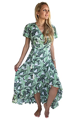 PIYOGA Damen Göttin Maxikleid Flowy Bohemian Short Sleeve High-Low Wrap US W 0-8 Mein Herz ist in Havanna