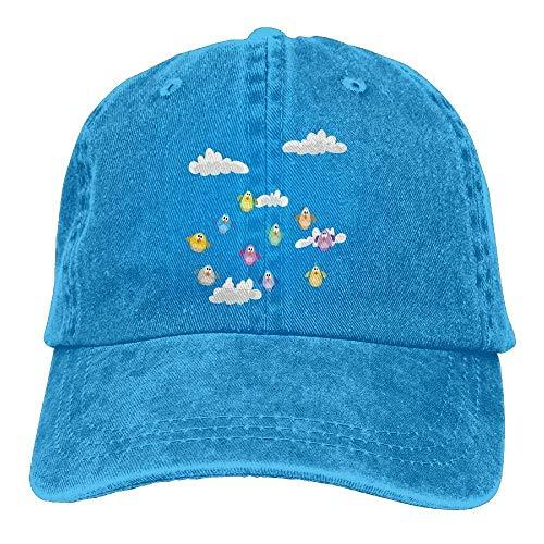 Hoswee Unisex Kappe/Baseballkappe, Flock of Colorful Birds Sitting on Wires Fluffy Clouds Blue Sky Urban Cartoon Comfortable Cowboy Hat Cap Royalblue - Hüte Urban Cowboy Hüte