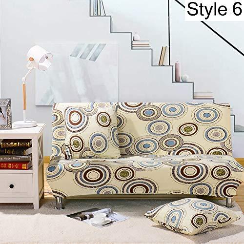 Monba, copertura elasticizzata per divano senza braccioli e divano letto, fodera protettiva con motivo floreale, Poliestere, Style 6, XL:195-225cm