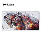 EMVANV Impression peinture à l'huile sur toile, poster nature moderne, motif cheval galopant, impression mat, grande image murale colorée, Voir image, 60cm x 120cm