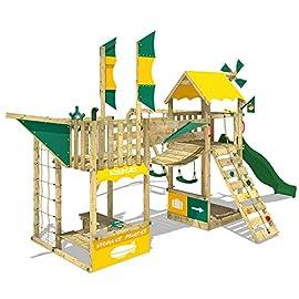 WICKEY Spielturm Smart Wing Kletterturm Luftschiff mit Segeln und Propeller Kletternetz Sandkasten, grüne Rutsche + gelb-grüne Plane