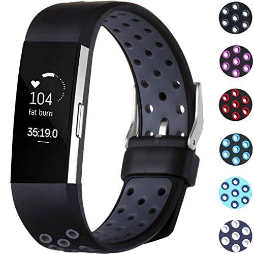 Fitbit Charge 2 Armband, HUMENN Zwei-Farben Weich Silikon Ersatzarmband Smartwatch Sport Band für Fitbit Charge 2 Herzfrequenz Fitnessaufzeichnung, Groß Schwarz/Grau