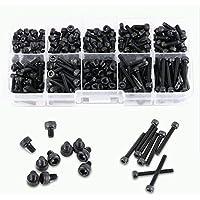 280Pcs/Box Grado de color negro 12.9 M3 Cabezal Hexagonal Tornillo Tuerca Tornillo Tuerca métrica Surtido de kits de surtido, 4/5/6/8/10/12/16/20/25mm de longitud