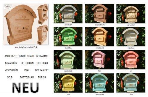 HBK-RD-NATUR Holz-Briefkasten, Briefkasten mit Holz – Deko aus Holz No 1 HOLZ NATUR HELL ideal für Holzhäuser Fertighäuser und Eingänge Briefkästen Postkasten Runddach - 2
