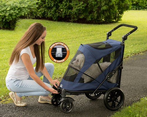 Pet Gear No-Zip Excursion Zipperless Entry Pet Stroller for Single or Multiple Pets, Candy Red 2