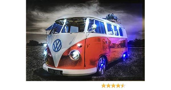 T1 BULLI Bus LED Bilder LED Bild 65 cm x 45 cm Leuchtbild Samarkand-Lights