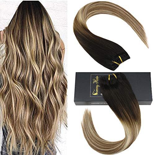 Sunny 120g/7pcs Haarverlangerung Echthaar Clips Ombre Dunkelbraun zu Blond mit Brown 100% Remy Clip in Echthaar Extensions 16Zoll
