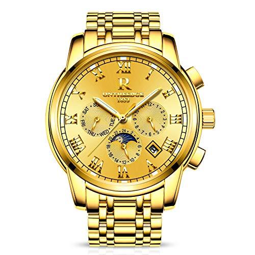 RORIOS Herren Edelstahl Automatisch Mechanisch Kalender Woche Römisch Nummer Metallarmband Armbanduhr (Wasserdicht-uhr-glühen In Der Dunkelheit)