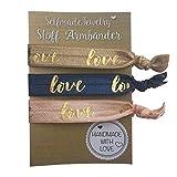 SelfmadeJewelry Damen Stoff Armband und Haargummi Set - Love in Rosa Blau Braun Gold auf elastischem Bändchen handgemacht