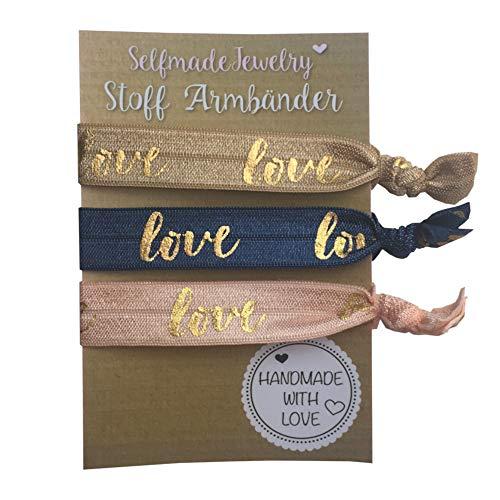 SelfmadeJewelry Damen Stoff Armband und Haargummi Set - Love in Rosa Blau Braun Gold auf elastischem...