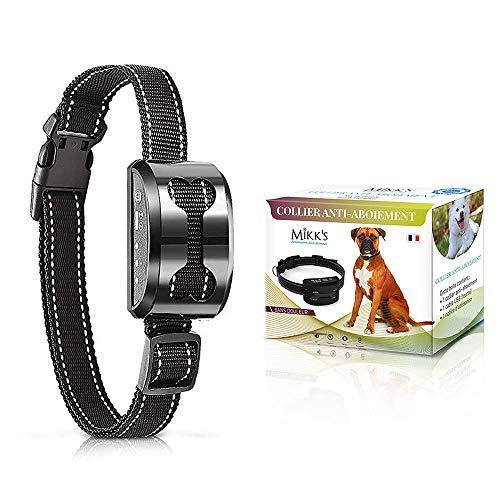 Collier Anti-Aboiement Chien - Dressage chiens de 3 à 50kg Inoffensif SANS CHOC ELECTRIQUE - Rechargeable & Sans Douleur - Son et Vibration - MANUEL EN FRANCAIS (Noir)