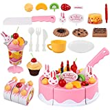 MU&XI La Incomparable DIY Finge ser Fruta Cortar Pastel de cumpleaños Cocina Juguete Divertido Dulce Moda(None 75 Sets)