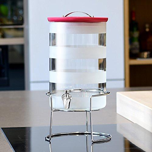 Fermenter Homebrew Obst Bier & Wein, Flasche, Automatische Auspuff Glas Flasche luftdicht verschlossene Tank, Hochtemperaturbeständig, mit Hahn, 7500 ML, Edelstahl Wasserhahn + Rack (Höhe 16 CM)