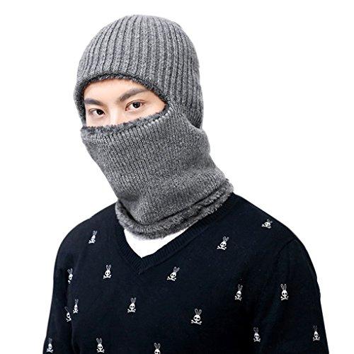 Winddicht Gesichtsmaske Sturmhaube Maske mit Flecefutter Winter Hüte Kappe Mütze Warme Strick Balaclava Beanie Hut für Outdoor Sport Radfahren grau