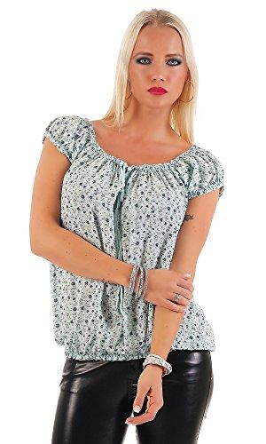 Zarmexx Damen Kurzarmbluse Carmenbluse Oberteil Sommerbluse Shirt Tunika Geblümt One Size Mint