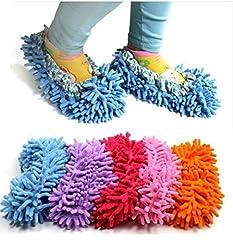 Idea Regalo - Sconosciuto Generic, pantofole con effetto mocio che strofina, per pulire il bagno, l'ufficio, la cucina (A)