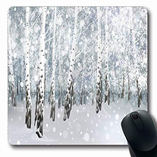 Luancrop Mauspads für Computer Light Silver Snow Winter Snowy Birkenwald Frohe Baum Blue Holiday Christmas Wonderland Schneesturm rutschfeste Oblong Gaming Mouse Pad