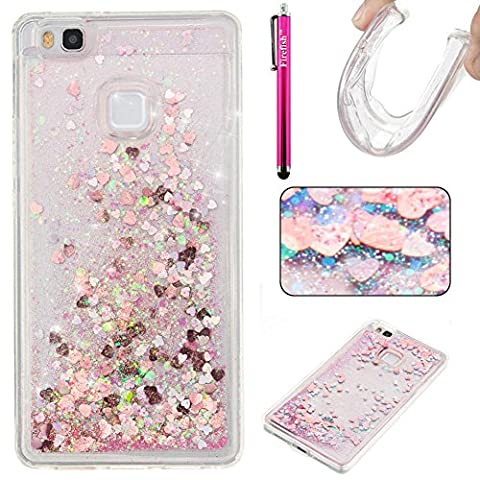 Huawei P9 Lite Case, Firefish Glitter Liquid Cover Slim Soft TPU Rubber Silicone Case Impact Resistant Durable Protective Case for Huawei P9 lite