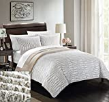 Chic Home 3Piece New Faux Fur Collection with Mink like backing in Alligator Animal Skin design Comforter set, Queen, beige