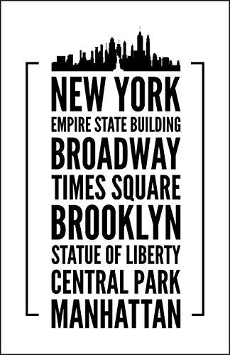 Damdekoli New York Poster, 27,9x 43,2cm, NYC Kunstwerken, Wand Print, New York City Skyline