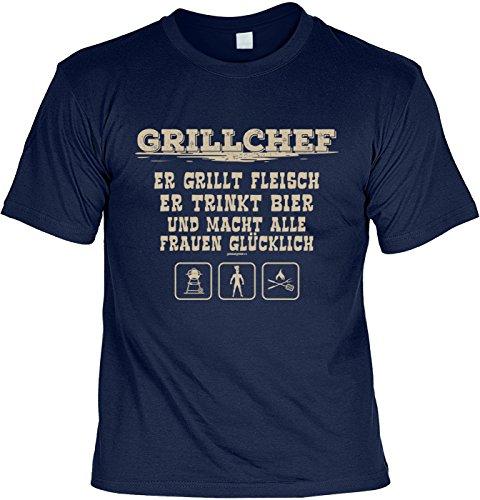 T-Shirt Grillchef Er grillt Fleisch Er trinkt Bier und macht alle Frauen glücklich Grill T-Shirt Geschenkidee Grillen Grill Party Geschenk zur Grillsaison Navyblau