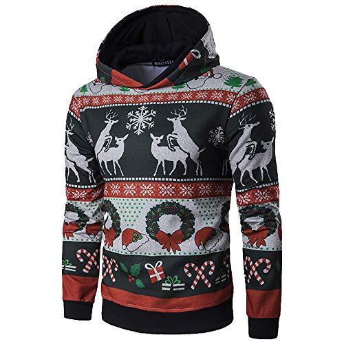 Fenverk Herren Langarm Hoodie Sweatshirt Slim Fit Sweatjacke Kapuzenpullover Baumwoll Pullover Outwear MäNner Winter Weihnachten Mit Kapuze Mantel Tops(Schwarz,L)