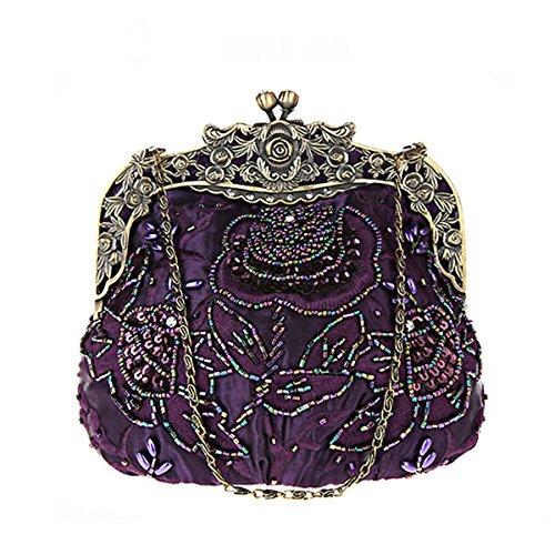 Flada Damen Jahrgang Handtasche handgemacht Beaded trauung grün Purple