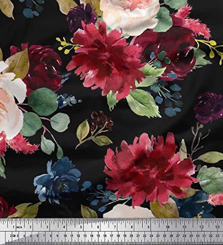 Soimoi Schwarz schwere Leinwand Stoff Blätter & Pfingstrose Blumen- Stoff Drucke Meter 58 Zoll breit -