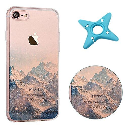 iPhone 7 Cover, MAOOY Bellissimo Paesaggio Modello Design Case per iPhone 7, Flessibile Ultra Sottile Leggero Bumper Copertura di Soft Gomma Sveglio Cristallo Gel Antiurto Protettiva per 4.7 Apple iP Neve in Montagna
