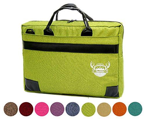BAMBINIWELT Laptop Notebook UNI MELIERT **11 FARBEN** Aktentasche Hülle Case 15,6 - 17,0 - 17,3 ZOLL Laptoptasche NEU 41x31x6cm oder 38x28x6cm (15-6 ZOLL, Grün)