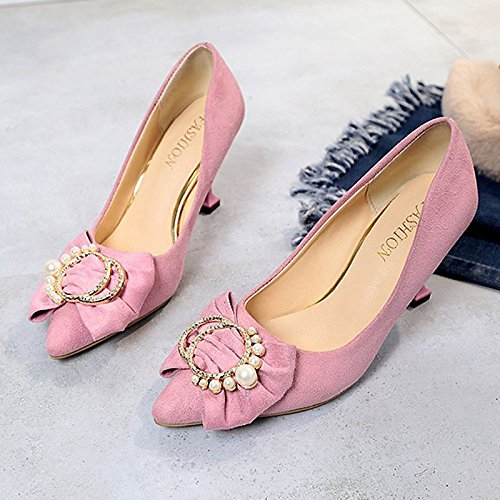Dimaol Chaussures Femme Cachemire Confort Printemps Talons Talon Stiletto Bowknot Tip Dress Rose Rouge Noir Gris Rose
