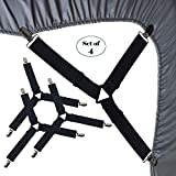 MINISTAR Bed Sheet Fasteners, 4 Pack Adjustable Triangle Heavy Duty Sheet Band Straps Suspenders Corner Gripper Holder Clip for Fitted and Flat Bed Sheets, Mattress Pad Covers, Sofa Cushion