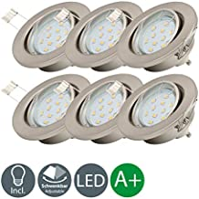 6x3W LED Focos empotrables giratorio Ø86mm IP23 I blanco cálido 3000K I profundidad 60mm I Metal