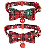 Steerfr 2 Pack Weihnachten Katzenhalsband Schnellverschluss Fliege Breakaway Halsband Set Kleine Hundehalsbänder mit Glocke