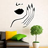 HLLCY Girl Face with Hand Manicure Nail Labbra Stickers murali Salone di Bellezza Adesivi murali in Vinile Interior Home Decor Art Murales Sticker 59X61Cm