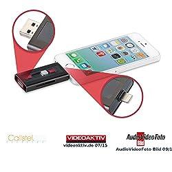 Callstel USB Stick iPhone: microSD-Speichererweiterung für iPhone & iPad, MFi-zertif, bis 128 GB (Speichererweiterung iPhone 5s)