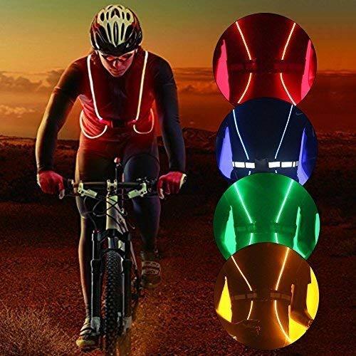 Reflektierende LED-Beleuchtung Sicherheit Weste Gürtel für Laufen, Radfahren, Snowboarden, Joggen, Wandern (keine Batterien), grün