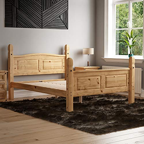 Vida Designs Corona Double Bed, 4 Foot 6, High Foot End Bed Frame, Solid Pine Wood