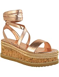 5b113a8e80db5 Fashion Thirsty Heelberry® Womens Ladies Flatform Cork Espadrille Wedge  Sandals Ankle Lace Up Shoes Size
