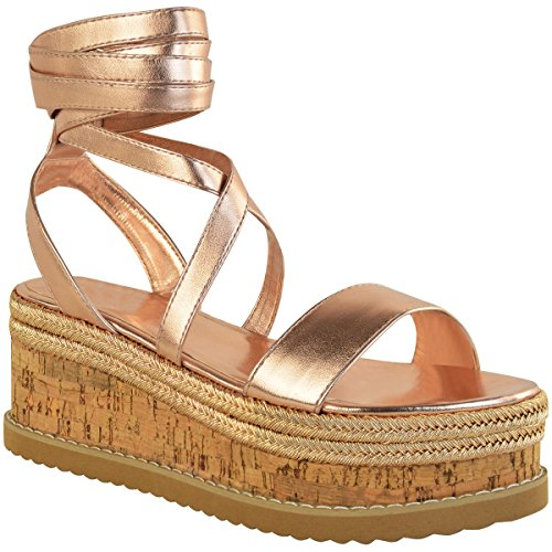 Womens Ladies Flat Wedge Espadrille Lace Tie up Sandals Platform Summer Shoes Platform Sandal